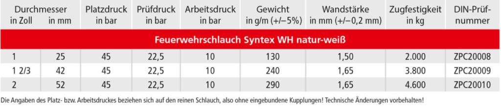 OSW Feuerwehrschlauch Syntex WH natur-weiß Technische Daten